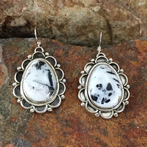 White Buffalo Sterling Silver Earrings by Shirley Henry