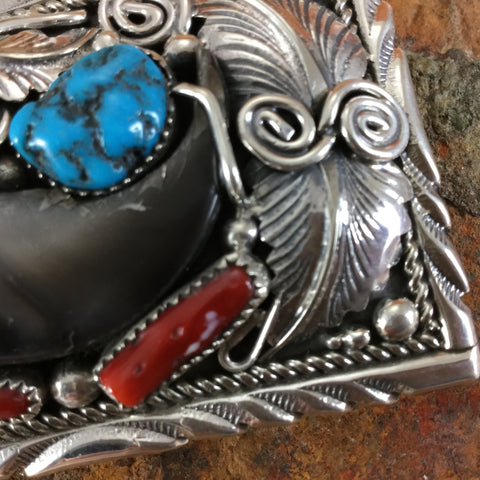 Bear Claw, Turquoise & Coral Sterling Silver Buckle by Mike Thomas Jr