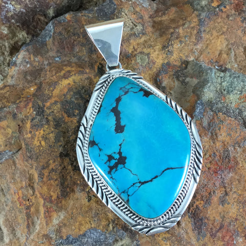 Blue Diamond Turquoise Sterling Silver Pendant