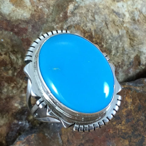 Kingman Turquoise Sterling Silver Ring Size 7.5