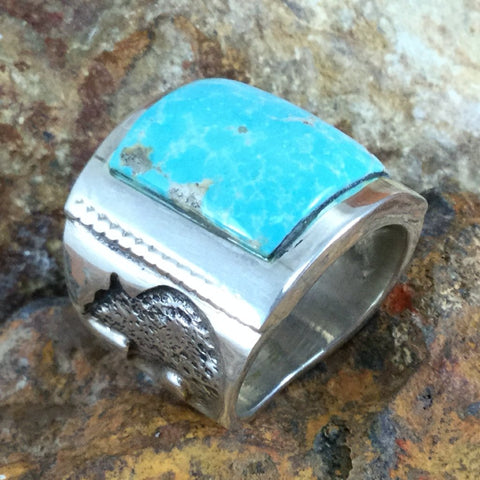 Dry Creek Turquoise Sterling Silver Ring Size 10.5 by Billy The Kid