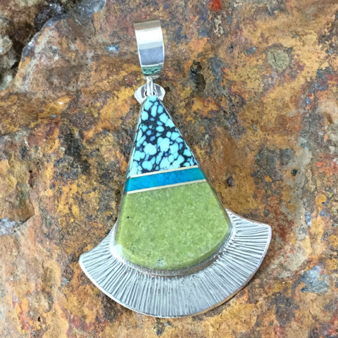 Calcasiderite, Gem Silica, Opal Inlaid Sterling Silver Pendant by Duane Maktima