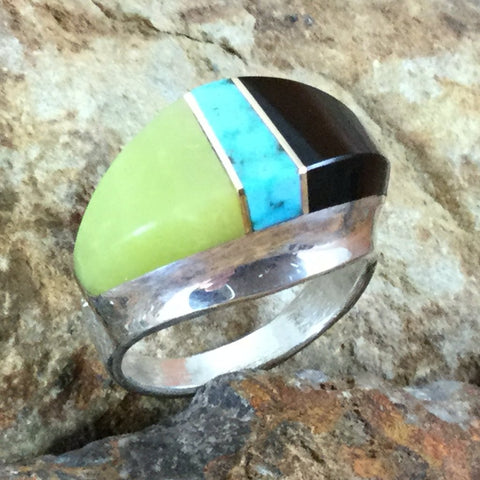 Black Jade, Turquoise & Lemon Quartz Inlaid Sterling Silver Ring by Duane Maktima
