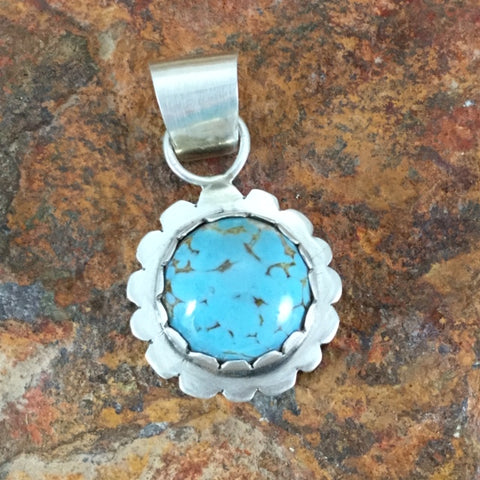 Kingman Turquoise Sterling Silver Pendant by Mary Tso
