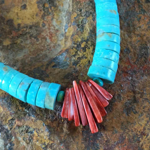 "18"" Single Strand Turquoise & Spiny Oyster Beaded Necklace by Verlin Yatsatti"