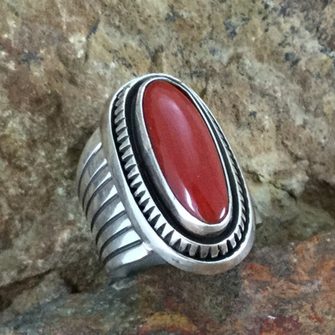 Mediterranean Red Coral Sterling Silver Ring by Leonard Nez Size 6