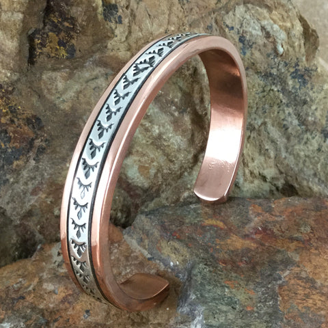 "Sterling Silver & Copper Cuff Bracelet: 3/8"" - By Sylvana Apache"