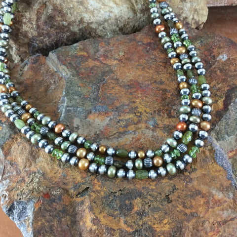 "18"" Three Strand Oxidized Sterling Silver Multi Color Beaded Necklace"