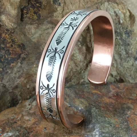 "Sterling Silver & Copper Cuff Bracelet: 1/2"" - By Sylvana Apache"