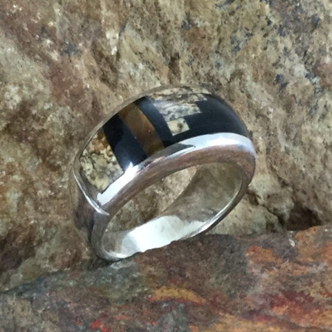 David Rosales Native Earth Fancy Inlaid Sterling Silver Ring