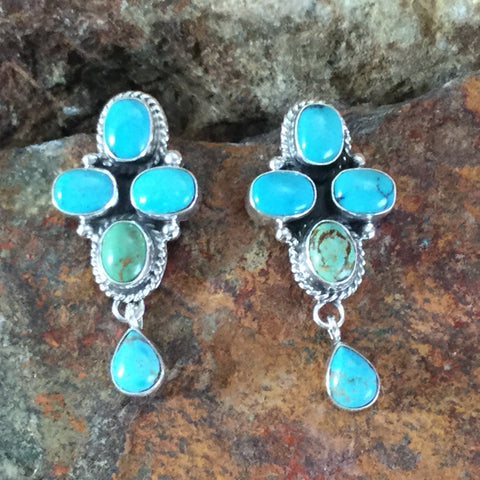 Campitos Turquoise Sterling Silver Earrings by Ella Linkin