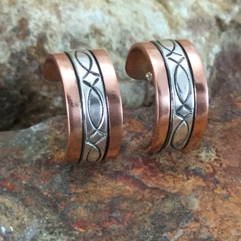 Sterling Silver & Copper Earrings By Sylvana Apache
