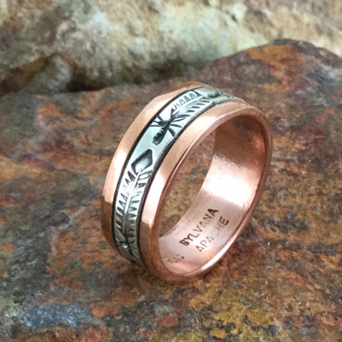 Sterling Silver & Copper Ring By Sylvana Apache Size 7