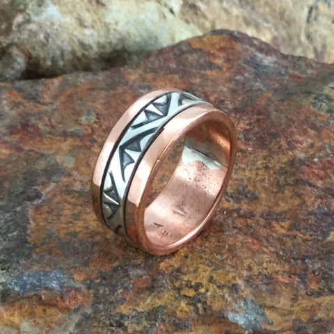 Sterling Silver & Copper Ring By Sylvana Apache Size 9