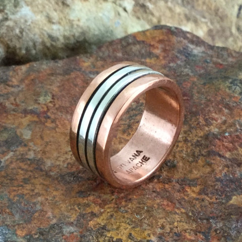 Sterling Silver & Copper Ring By Sylvana Apache Size 8