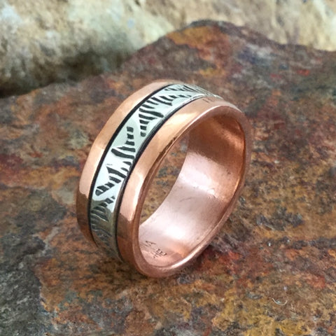 Sterling Silver & Copper Ring By Sylvana Apache Size 8.5