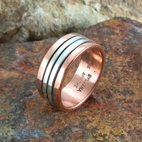 Sterling Silver & Copper Ring By Sylvana Apache Size 9.5