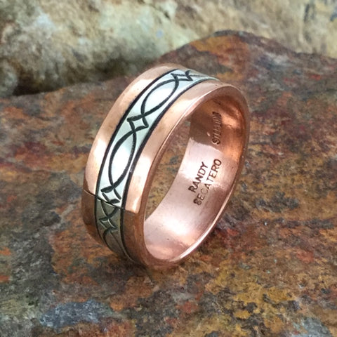 Sterling Silver & Copper Ring By Sylvana Apache Size 11.5