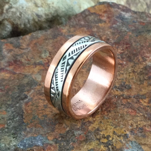 Sterling Silver & Copper Ring By Sylvana Apache Size 10.5