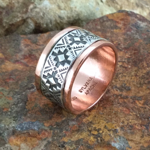 Sterling Silver & Copper Ring Wide By Sylvana Apache Size 12