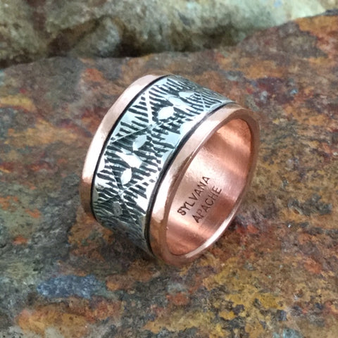 Sterling Silver & Copper Wide Ring By Sylvana Apache Size 8.5