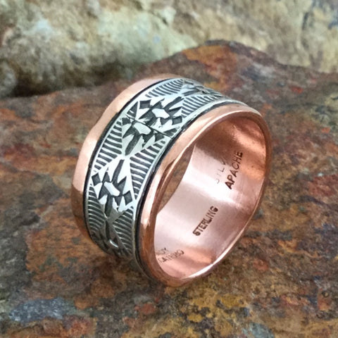 Sterling Silver & Copper Wide Ring By Sylvana Apache Size 13
