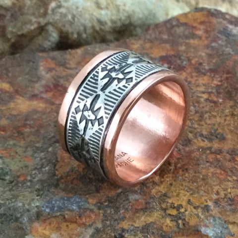 Sterling Silver & Copper Wide Ring By Sylvana Apache Size 10