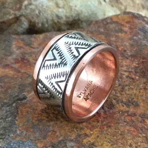 Sterling Silver & Copper Wide Ring By Sylvana Apache Size 9
