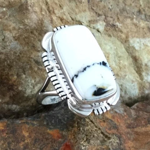 White Buffalo Sterling Silver Ring by Thomas Francisco Size 6.5