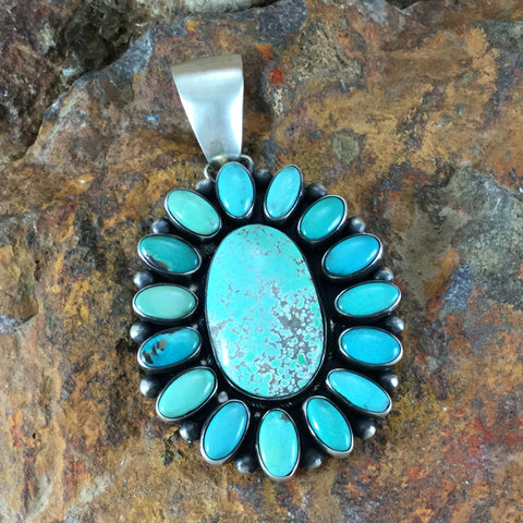 Carico Lake Turquoise Sterling Silver Pendant Cluster by Ben Tom