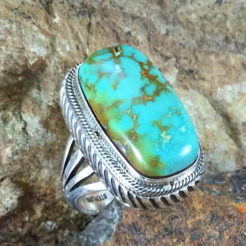 Carico Lake Turquoise Sterling Silver Ring by Ray Bennett Size 9