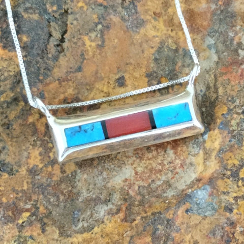 Turquoise & Red Coral Sterling Silver Pendant by Troy Natachu
