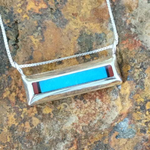 Turquoise, Red Coral & Sugilite Sterling Silver Pendant by Troy Natachu