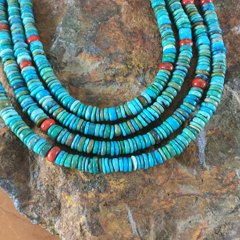"20"" Four Strand Nevada Turquoise Beaded Necklace by Nastoria Coriz"