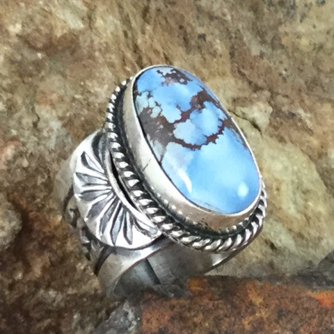 Golden Hill Turquoise Sterling Silver Ring by Sunshine Reeves Size 6.5