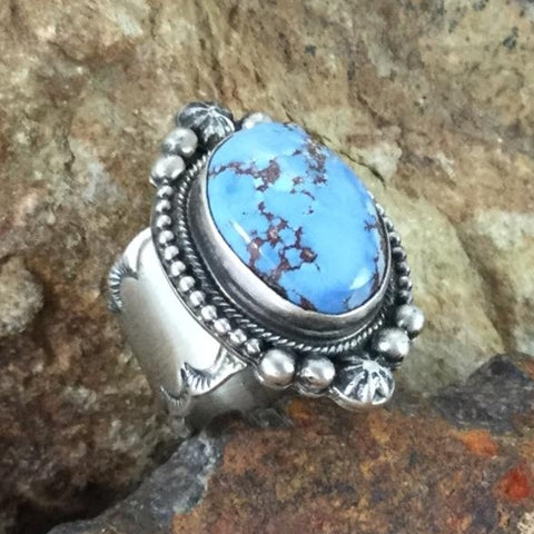 Golden Hill Turquoise Sterling Silver Ring by Bobby Bicenti Size 7