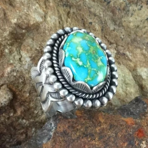 Sonoran Gold Turquoise Sterling Silver Ring by Elgin Tom Size 8