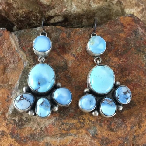 Golden Hill Turquoise Sterling Silver Earrings Cluster by Danny Clark
