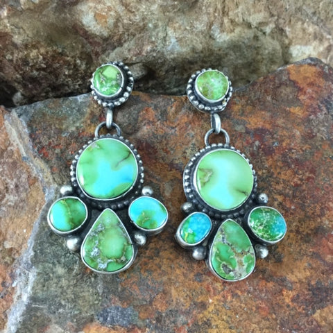 Sonoran Gold Turquoise Sterling Silver Earrings Cluster by Elanor Largo