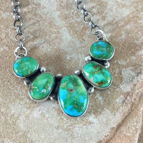 Sonoran Gold Turquoise Sterling Silver Necklace by Albert Dawes