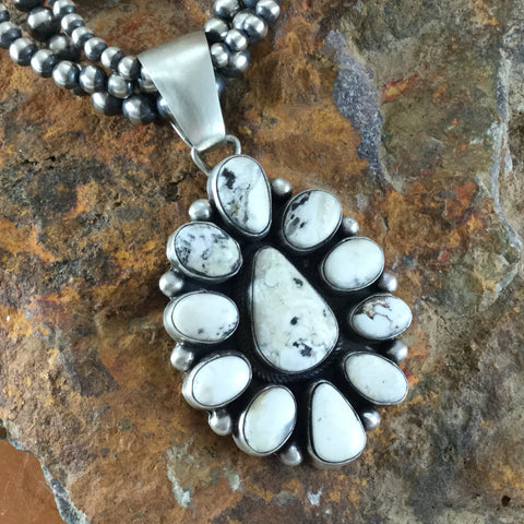 White Buffalo Sterling Silver Pendant with Three Strand Oxidized Beaded Necklace