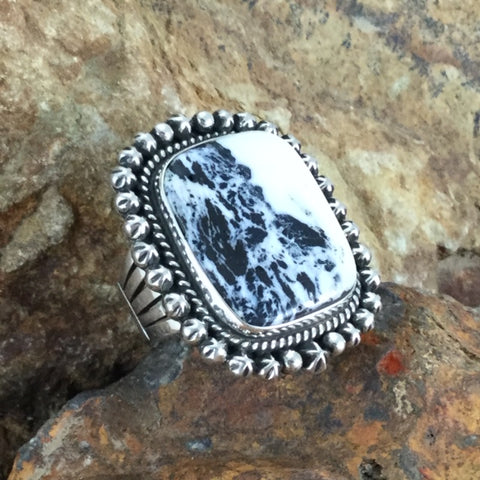 White Buffalo Sterling Silver Ring by A Martin Size 8