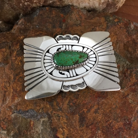 Sonoran Turquoise Sterling Silver Belt Buckle by Leonard Nez