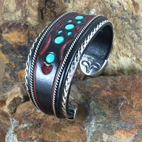 "Jerry Tucker Red Leather Cuff w/ Kingman Turquoise 1 1/4"" Width"