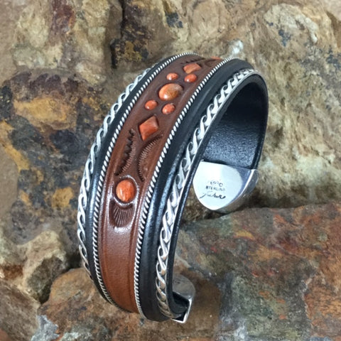 "Jerry Tucker Brown & Black Leather Cuff Bracelet w/ Apple Coral 1"" Width"