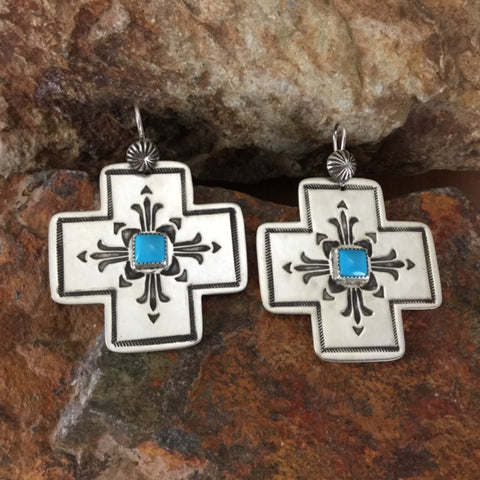 Traditional Kingman Turquoise and Sterling Silver Earrings by K Nataani