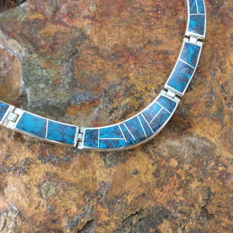 David Rosales Western Skies Inlaid Sterling Silver Necklace NEW