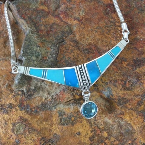 David Rosales Arizona Blue Inlaid Sterling Silver Necklace w/ Blue Topaz