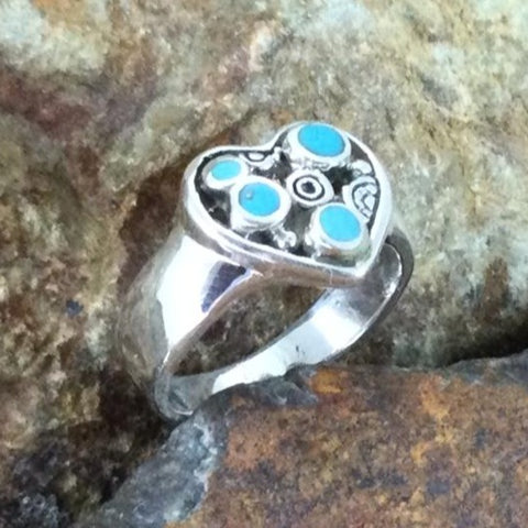 David Rosales Arizona Blue Inlaid Sterling Silver Ring Heart