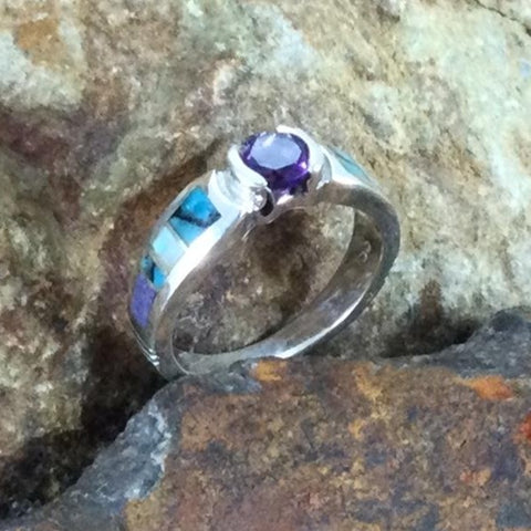 David Rosales Shalako Inlaid Sterling Silver Ring w/ Amethyst
